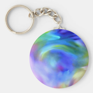 blue swirl basic round button keychain