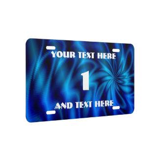 Blue Swirl License Plate