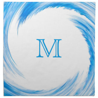 Blue Swirl Modern Abstract Monogram Napkin