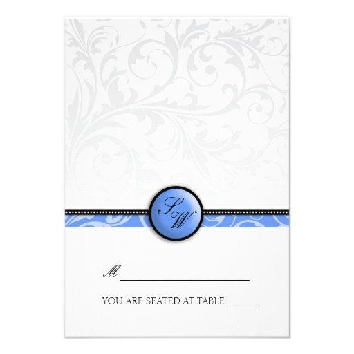 Blue Swirl Monogram Folding Tent  Place Card Custom Invite