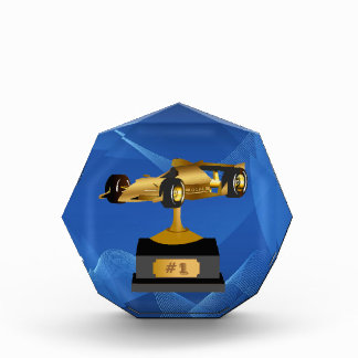 Blue Swirl Race Car Trophy Award