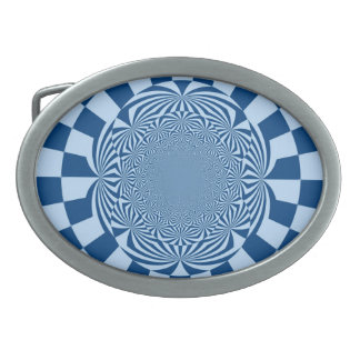 Blue Swirl Retro Funky Paint Abstract Art Oval Belt Buckle