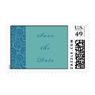 Blue Swirl Save the Date Stamp