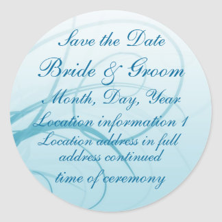 Blue Swirl 'Save the Date' stickers