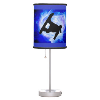 Blue Swirl Snowstorm ANY COLOR BACKGRND Table Lamps