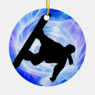 Blue Swirl Snowstorm Christmas Ornament