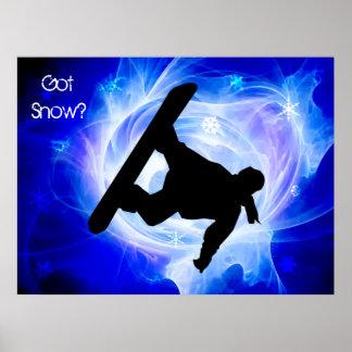 Blue Swirl Snowstorm Poster