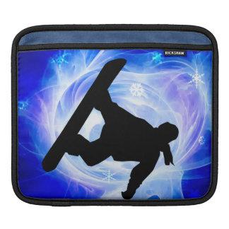 Blue Swirl Snowstorm Snowboard iPad Sleeve