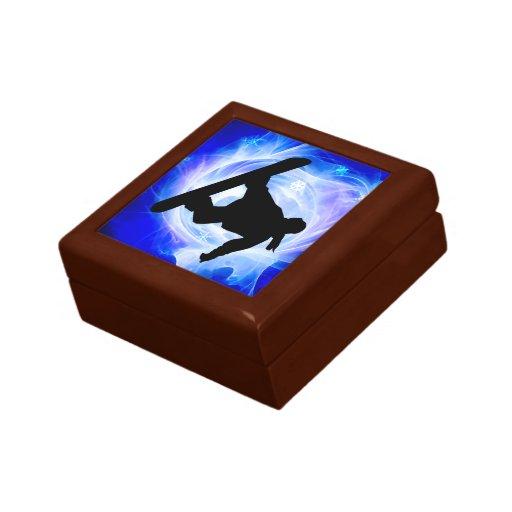 Blue Swirl Snowstorm Snowboard Jewelry Box
