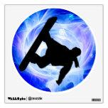 Blue Swirl Snowstorm Snowboarder Room Sticker