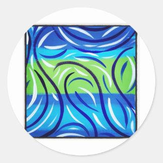 Blue Swirl Round Stickers