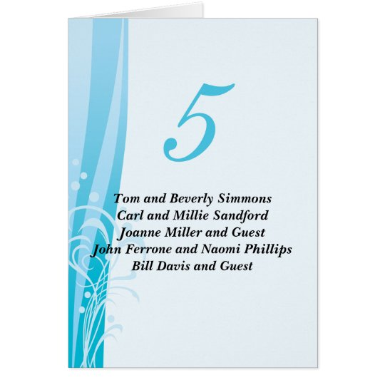 Blue Swirl Table Seating Cards