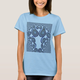 Blue Swirl Tile Fractal Art T-Shirt
