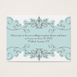 Blue Swirl Wedding Reception Cards