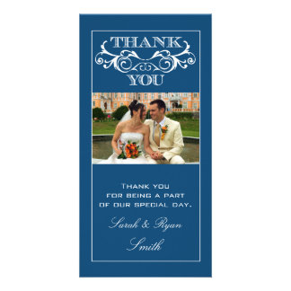 Blue Swirl Wedding Thank You Photo Cards
