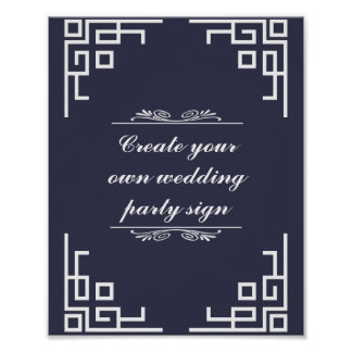Blue Swirl White Border Wedding Party Sign Poster