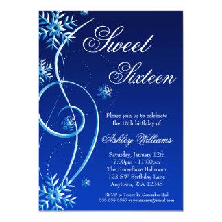Blue Swirl Winter Wonderland Sweet 16 4.5x6.25 Paper Invitation Card