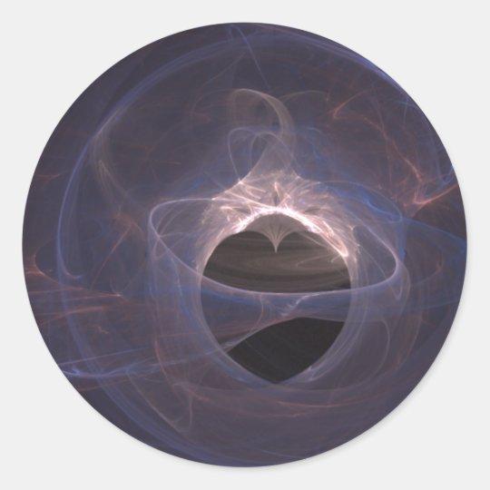 Blue Swirled Fractal Art Heart Classic Round Sticker