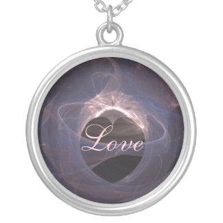 Blue Swirled Fractal Art Heart Pendants