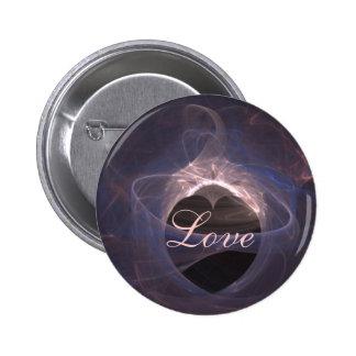 Blue Swirled Fractal Art Heart Pins