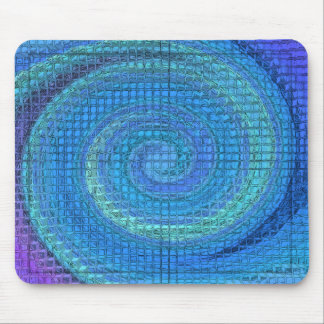 BLUE SWIRLING BLOCKS MOUSE PAD