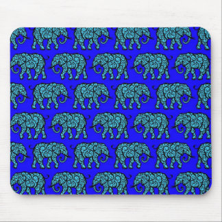 Blue Swirling Elephant Pattern Mouse Pad