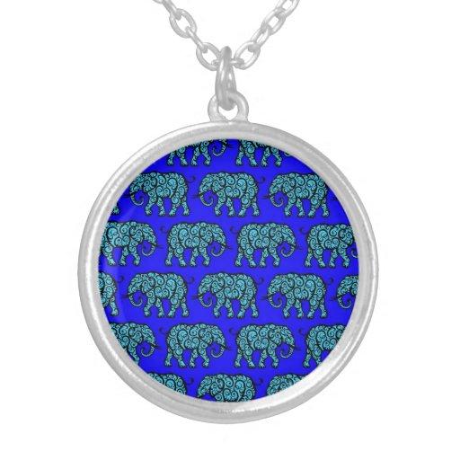 Blue Swirling Elephant Pattern Necklaces