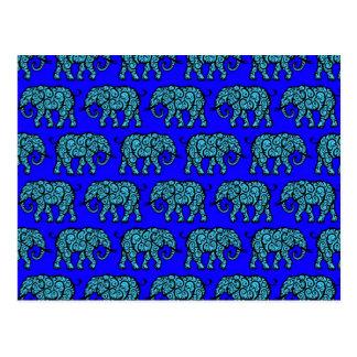 Blue Swirling Elephant Pattern Postcard