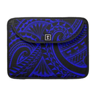 Blue swirling tribal tattoo on black background MacBook pro sleeve