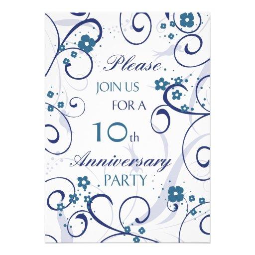 Blue Swirls 10th Anniversary Party Invitation Card