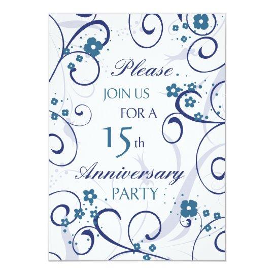 Blue Swirls 15th Anniversary Party Invitation Card
