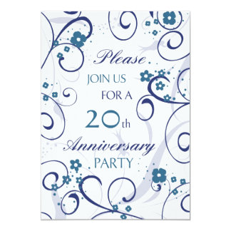 Blue Swirls 20th Anniversary Party Invitation Card