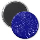 Blue swirls 2 inch round magnet