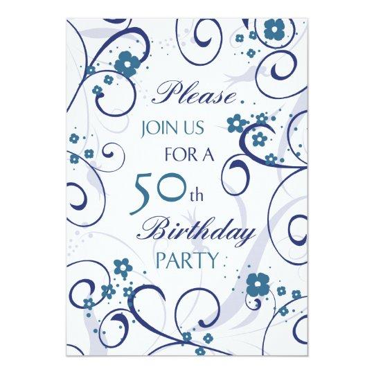 Blue Swirls 50th Birthday Party Invitation Card