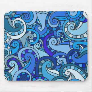 Blue swirls and curls illustration mouse pad