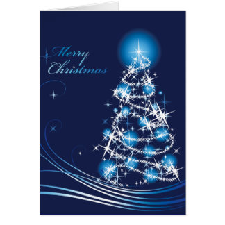 Blue Swirls Christmas Tree Christmas Card