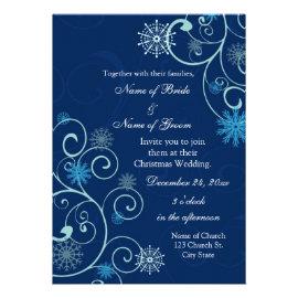 Blue Swirls Christmas Wedding Invitation Cards