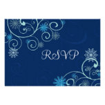 Blue Swirls Christmas Wedding RSVP Cards Personalized Invites