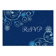 Blue Swirls Christmas Wedding RSVP Cards Personalized Invites