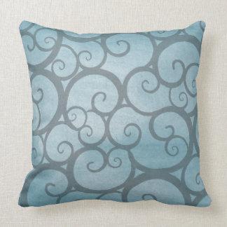 Blue Swirls Curls Pattern Throw Pillow