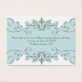 Blue Swirls Elegant Wedding Reception Cards