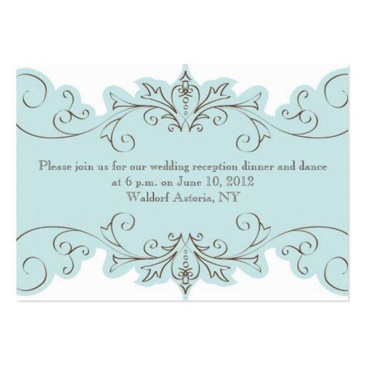 Blue Swirls Elegant Wedding Reception Cards Large Business Cards (Pack Of 100)