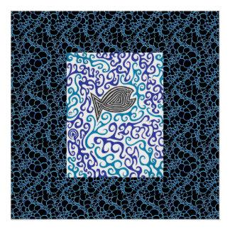 Blue Swirls Fish Poster