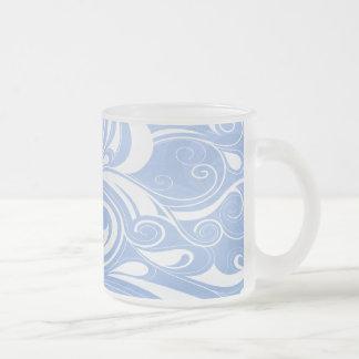 Blue Swirls Frosted Glass Coffee Mug