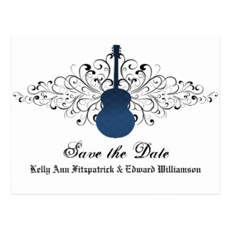 Blue Swirls Guitar Save the Date Postcard