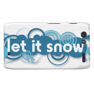 Blue swirls Let it Snow Motorola Droid RAZR Cover