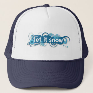 Blue swirls Let it Snow navy blue hat