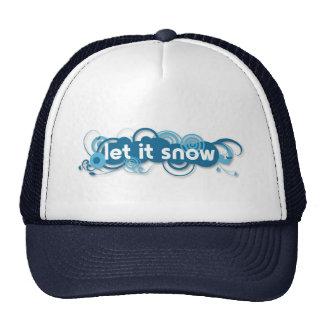 Blue swirls Let it Snow navy blue hat