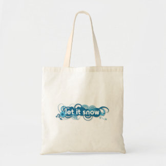 Blue swirls Let it Snow reusable tote bag