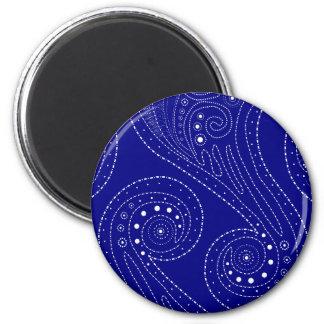 Blue swirls refrigerator magnet